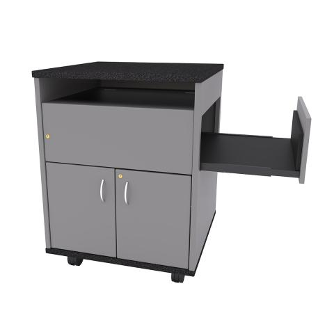 Square Top Standing Height Lectern with Pull-out Shelf