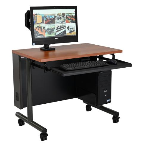 Single Computer Training Table with Articulating Surface Mount Arm