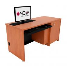 Seated Height Lectern with Locking CPU Storage and Trolley™ Monitor Lift