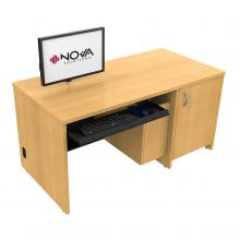 Seated Height Lectern with Locking CPU Storage - Surface Mount Arm