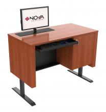 Sit-Stand height adjustable Lectern with Trolley™ motorized Monitor Lift