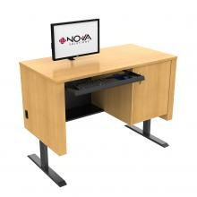 ADA compliant Sit-Stand height adjustable Lectern with Surface Mount Arm