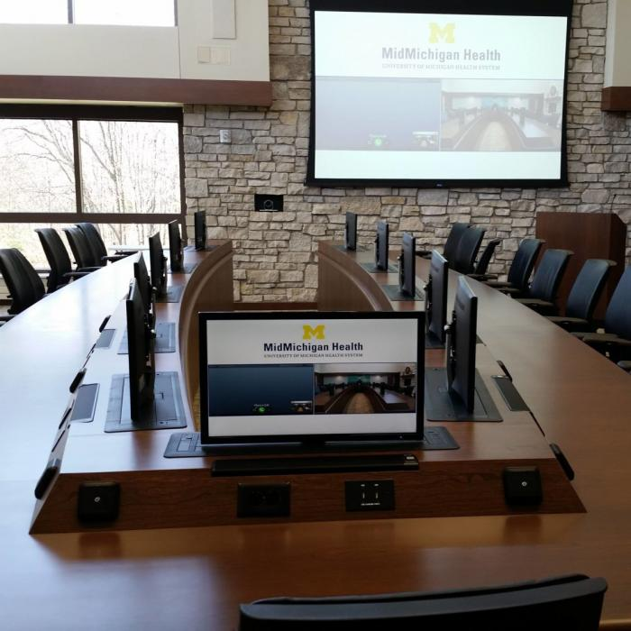 Mid Michigan Health computer conference table