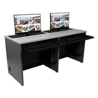 Double Computer Training Desk with Trolley™ Monitor Lifts